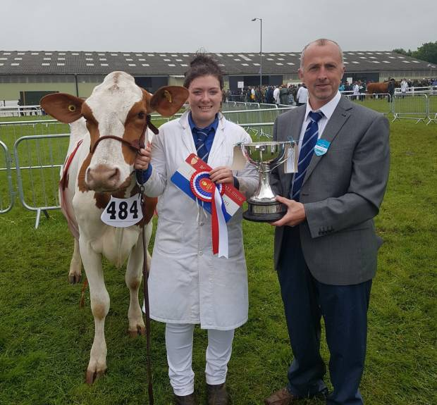 Becky Walters and her Champion Reids Crimson Tulip with Judge Geraint Thomas