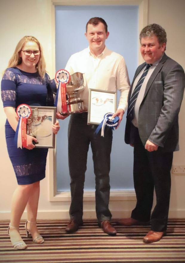 Hugh Stevenson and John Cochrane trophy winners Jake Sayer and Megan Stratton with Society President Keith Davidson