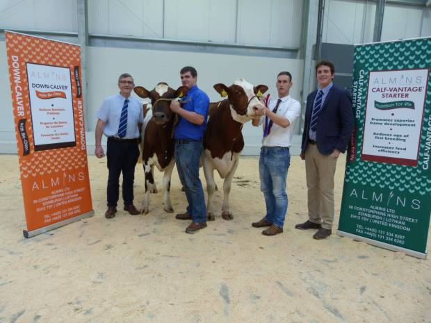 l/r Arthur Lawrie representing sponsor Almins, Reserve Champion led by Micheal Armstrong, Champion led by Grant Gilliland, John Smith (judge)