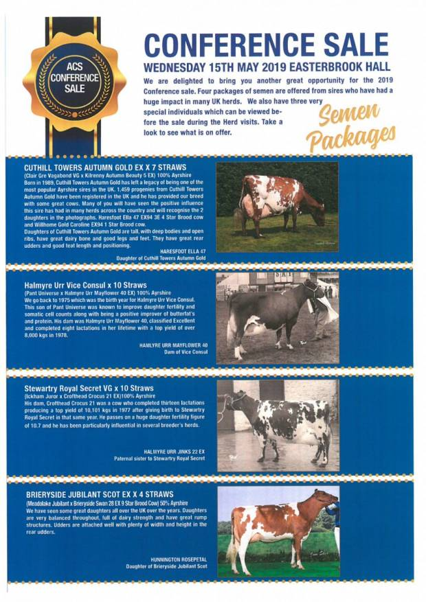 2019 Ayrshire Cattle Society Conference Sale - Wednesday 15th May 2019