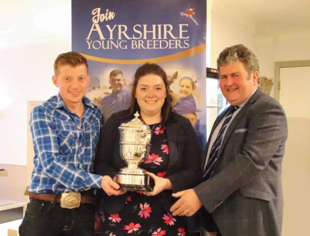 Stockjudging team winners Andrew Rimmer and Becky Walters with Society President Keith Davidson