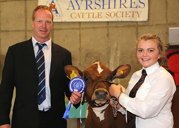 Reserve champion handler was Rebecca Jones, Ballymena. She was congratulated by Peter Berresford. Picture by Jane Steel.